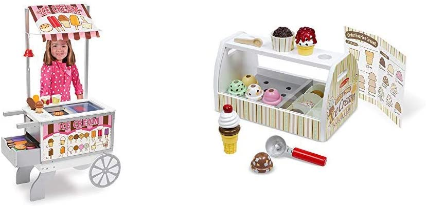 Melissa & Doug Wooden Snacks & Sweets Food Cart - The Original (Best for 3, 4, 5, 6, and 7 Year Olds) & Wooden Scoop & Serve Ice Cream Counter (Best for 3, 4, 5 Year Olds and Up)