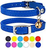 "CollarDirect Leather Cat Collar, Cat Safety Collar with Elastic Strap, Kitten Collar for Cat with Bell Black Blue Red Orange Lime Green (Neck Fit 9""-11"", Navy Blue)"