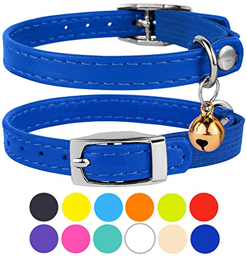 CollarDirect Leather Cat Collar, Cat Safety Collar with Elastic Strap, Kitten Collar for Cat with Bell Black Blue Red Orange Lime Green (Neck Fit 6