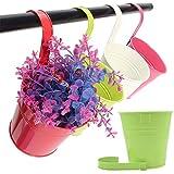 10vasi da fiori da appendere, a forma di secchio, in ferro, con gancio rimovibile, per recinzioni e balconi