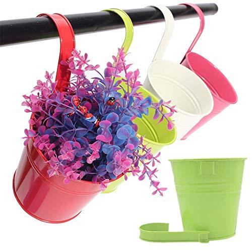 10 Pcs 10 cm Colored Metal Hanging Plant Pots Fence Flower Pots Grden Hanging Flower Holder for Outdoor with Detachable Hook -