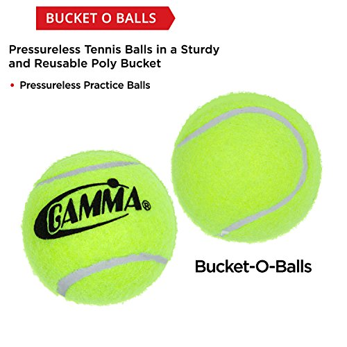 090852772996 - GAMMA Pressureless Tennis Ball Bucket| Case w/48 Practice Balls| Sturdy/Reusable/Portable Bucket to Replace Less Durable Tennis Mesh Bags| Ideal For All Court Types| Gamma Premium Tennis Accessories carousel main 2