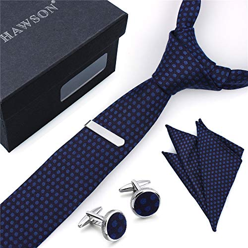 - Men's Bamboo Fiber Tie, Pocket Square Set with Cuff Links and Tie Clip in Gift Box – Best Gift for Wedding and Business Party (blue)