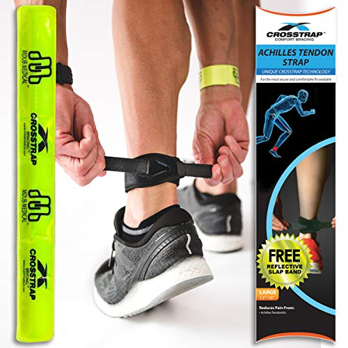 CROSSTRAP Achilles Strap by MDUB Medical Prevent Achilles Tendonitis Running, Cycling, Hiking, Outdoor Sports (Black, 1 Pack Large)