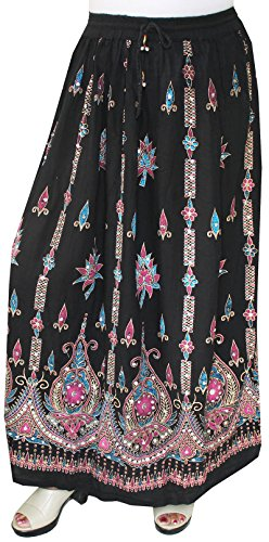 Womens Long Skirts Sequins Ankle Length Rayon India Clothing (Black, One Size)
