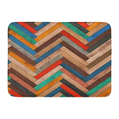Koperororo Doormats Bath Rugs Outdoor/Indoor Door Mat Colorful Pattern Wood Parquet Herringbone Clipart Chevron Arrow Floor Bathroom Decor Rug 16