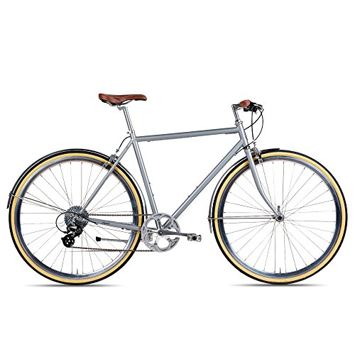 Populo Bikes Legend 8-Speed Classic All City Bike Steel Urban City Commuter Bicycle, Silver, 58cm/Large