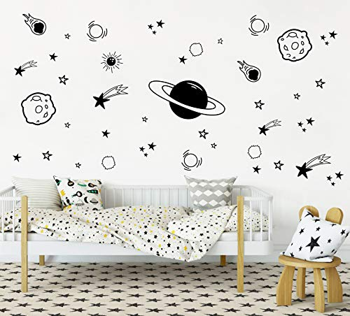 Planet Wall Decal, Boys Room Decor, Outer Space Wall Decals, Star Wall Stickers, Vinyl Wall Decals for Children Baby Kids Boys Bedroom, Nursery Decor(Y04) (Black)