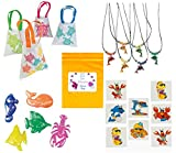 Multiple Luau Sealife Beach Pool Party favor Bundle Enough for 12 Kid's (12 Goody Gift Bags, 12 Dolphin Necklaces, 24 Squishy Sea Creatures Toys, 36 Tattoos & Bonus Bag)
