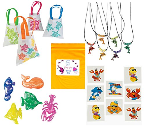 Multiple Luau Sealife Beach Pool Party favor Bundle Enough for 12 Kid's (12 Goody Gift Bags, 12 Dolphin Necklaces, 24 Squishy Sea Creatures Toys, 36 Tattoos & Bonus Bag)]()