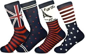 JiYe Womens Cotton Crew Socks 4-Packs Retro UK