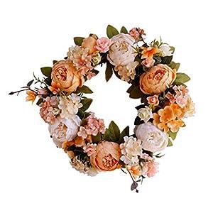 Yokoke Peony Wreath Rose Floral Twig Wreath 16 Inch Handmade Vintage Artificial Flowers Garland Front Door Wreath Beautiful Silk For Spring And Summer Wreath Display 5