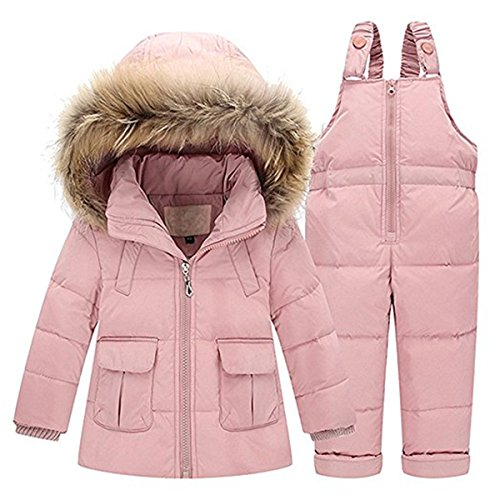 (JELEUON Baby Girls Two Piece Winter Warm Hooded Fur Trim Snowsuit Puffer Down Jacket with Snow Ski Bib Pants Outfits 4-5 Years Light Pink )
