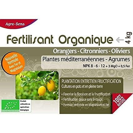 Agro Sens - Fertilizante orgánico cítricos naranjos, limoneros y olivos - 4 kg AG-AGRU4: Amazon.es: Jardín