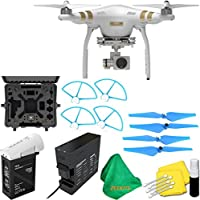 DJI Phantom 3 Professional Quadcopter Drone with 2.7K HD Video Camera + Deluxe Hard Case + 4pcs Blue Propellers + Blue Propeller Guards + ZEEKITS Microfiber Cloth + Lens Cleaning Kit for DJI