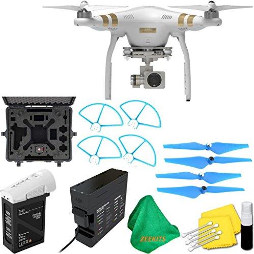 DJI Phantom 3 Professional Quadcopter Drone with 2.7K HD Video Camera + Deluxe Hard Case + 4pcs Blue Propellers + Blue Propeller Guards + ZEEKITS Microfiber Cloth + Lens Cleaning Kit for DJI -  DJIPHANTOM3PROKITA-022516