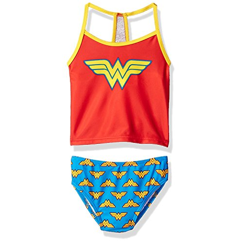 (Wonder Woman Superhero Girls Tankini Swimwear Swimsuit (4, Red/Blue))