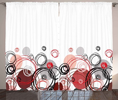 Abstract Panels Curtains Fifties Inspired Red and Grey Geometric Design