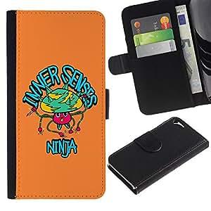 ARTCO Cases - Apple Iphone 5 / 5S - Pop Art Cartoon Psychedelic Mushroom Ninja - Slim PU Leather Wallet Credit Card Case Cover Shell Armor