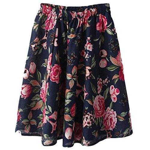 YuanDian Mujer Verano Ocio Bohemia Retro Literatura y Arte Impresión Flor Estilo Cintura Elástica Lino Corta Falda Acampanadas Mini Faldas Rojo Peonía