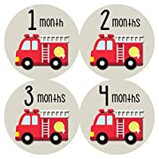 Monthly Baby Stickers by Months In Motion | 12 Month Milestone Sticker for Newborn Babies Boy Fire Engine Truck (Style 1164)