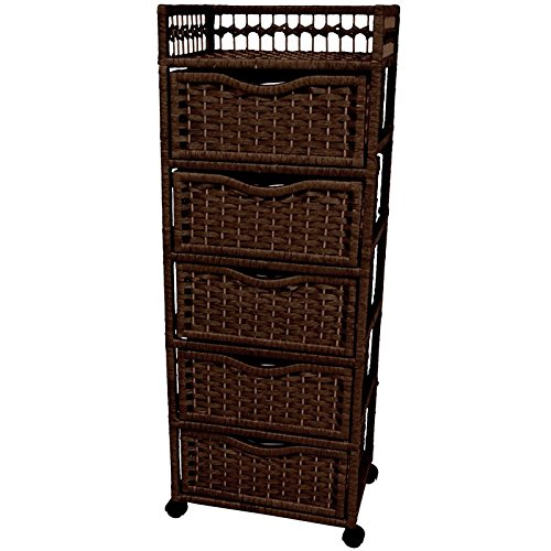 Oriental Furniture 46'' Natural Fiber Chest of Drawers on Wheels - Mocha by ORIENTAL Furniture