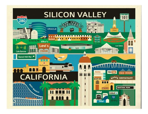 8 x 10 Retro Graphic Travel Themed Print - Silicon Valley, California - - In Moreno Stores Valley