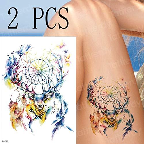 tzxdbh 2 Unids/Lote Colorido Reno atrapasueños Tatuajes temporales ...