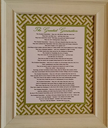 The Greatest Generation - Framed Inspirational Prayer and Blessing - Gift for Grandparents or Seniors (Personalization Available)