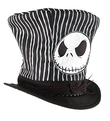 Jack Skellington Top Hat (UHC Jack Skellington Top Hat Christmas Theme Party Adult Costume Accessory)