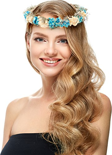 Blue Flower Crown – Vintage Floral Headband for Women – Perfect for Wedding Festivals, Casual wears & Photography. (Blue)