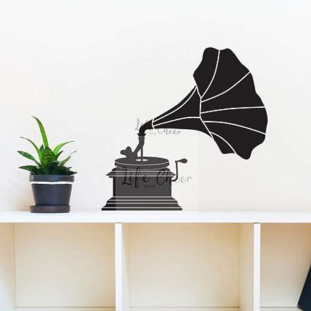 XCJX Fonógrafo Etiqueta de la Pared Diseño clásico Decoración para el hogar Tocadiscos Vinilo Tatuajes de Pared Gran invención Máquina de la música Mural de la Pared 57x58cm: Amazon.es: Hogar