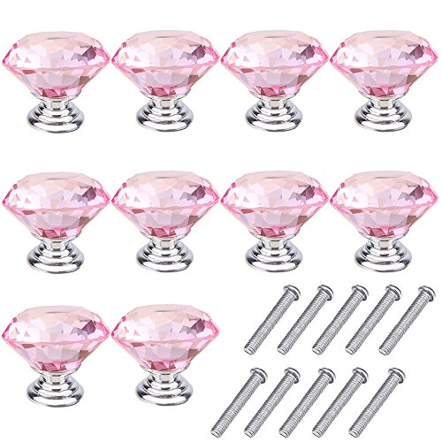 Mosong 10pcs 30mm Glass Clear Cabinet Knob Drawer Pull Handle Kitchen Door Wardrobe Hardware Used for Cabinet, Drawer, Chest, Bin, Dresser, Cupboard, Etc (Pink)