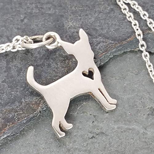 Love My Chihuahua w/Heart Cutout Necklace - 925 Sterling Silver