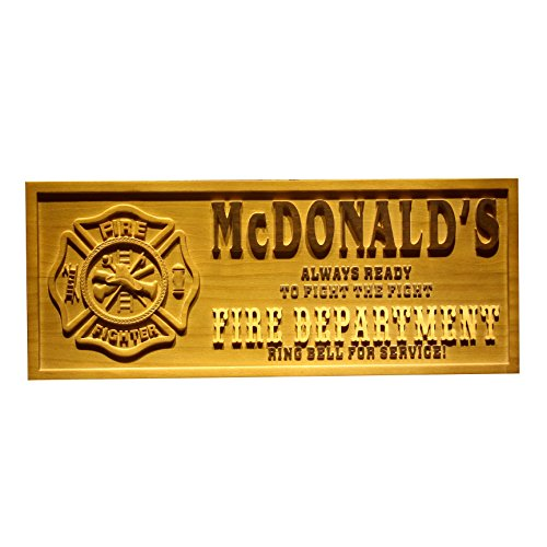 Fireman Wood Sign - AdvPro Wood Custom wpa0075 Name Personalized Fire Fighter Department Retired Fireman Man Cave Bar 3D Engraved Wooden Sign - Standard 23