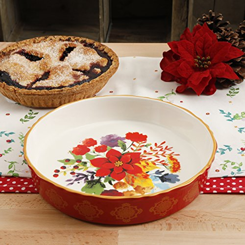 (The Pioneer Woman Winter Bouquet 9-Inch Pie Pan, Red Baking Dish)