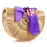 Women's Bamboo Handbag Handmade Sea Large Bamboo Tote Bag Clutch Summer Straw Beach Bag Bamboo Purse