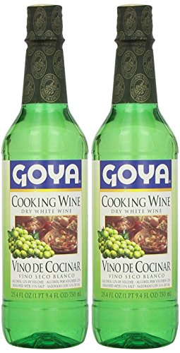 Goya Dry White Cooking Wine 25.4 Fl.Oz. | Vino Seco Blanco 750ml (PACK OF 02) (Best White Wine For Cooking)