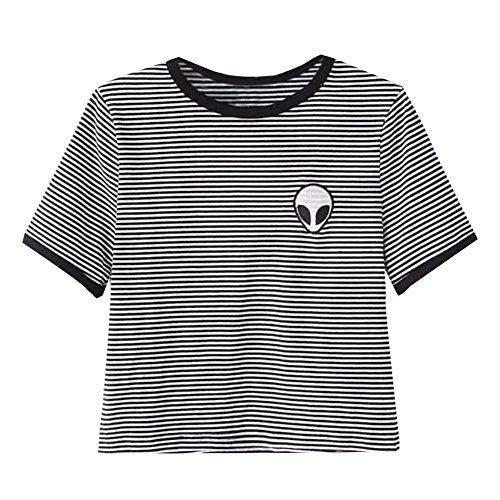 Alien Black T-shirt - UR Ladies Teen Girls Short Sleeve Funny Cute Alien Crop Top T-shirt, Black/White Stripe, XL