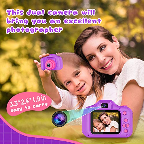 Seckton Upgrade Kids Selfie Camera, Best Birthday Gifts for Boys Girls Age 3-9, HD Digital Video Cameras for Toddler, Portable Toy for 3 4 5 6 7 8 Year Old Girl with 32GB SD Card-Purple