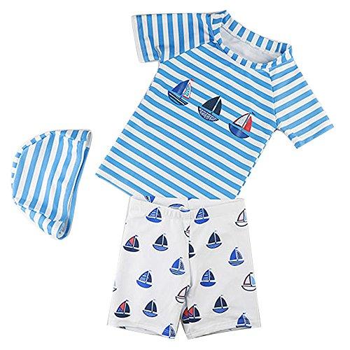 d5245dc7aa68c 1-4歳 水着 男の子 UVカット キャップ付 3点セット 男児用水着 パンツ ...