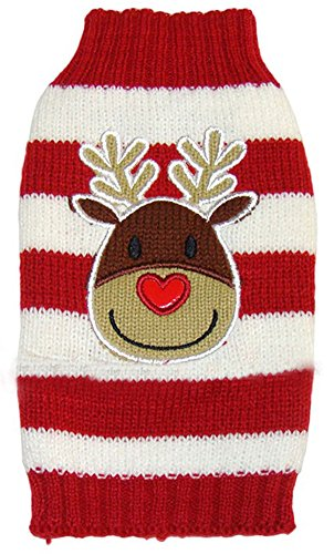 MaruPet New Year Doggie Ribbed Halloween Two-Leg Sweater Knitwear Turtleneck Striped Elk Printed Christmas Cotton Vest Top for Teddy, Chihuahua, Shih Tzu, Yorkshire Terriers, Golden Retriever Red L for $<!--$12.69-->