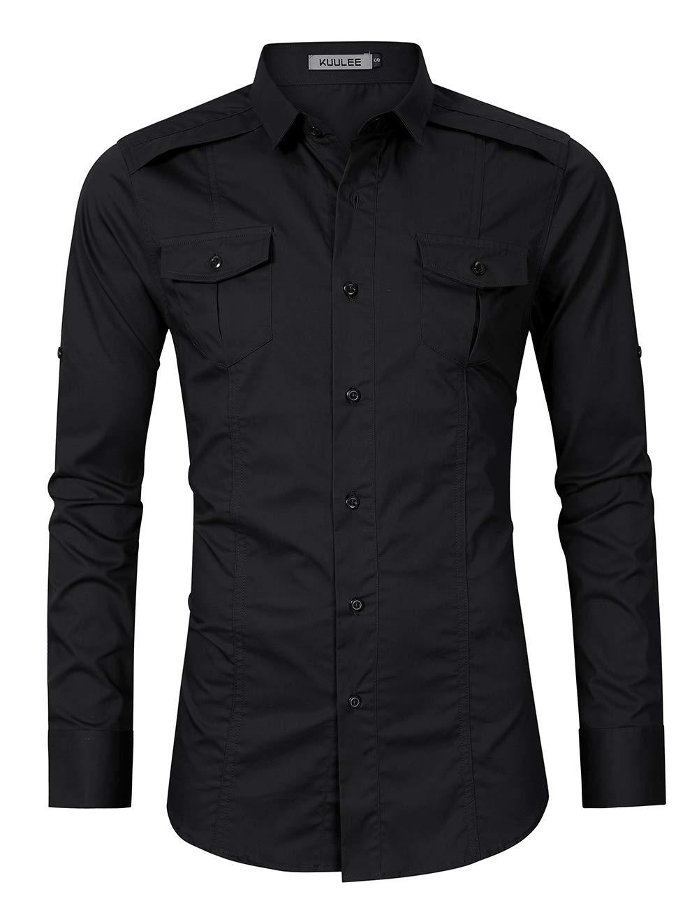 fa7d718a38c Kuulee Men s Casual Slim Fit Short Sleeve Button Down Dress Shirts Cargo  Shirt (S