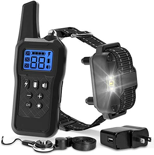 F-color Dog Training Collar, 2019 Upgraded Waterproof Dog Shock Collar with Remote 2600FT, Rechargeable 4 Modes Light Beep Vibration Shock Collar for Large Medium Small Dogs
