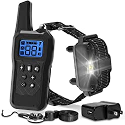 F Color Dog Training Collar 2019 Upgraded Waterproof Dog Shock Collar With Remote 2600ft Rechargeable 4 Modes Light Beep Vibration Shock Collar For Large Medium Small Dogs