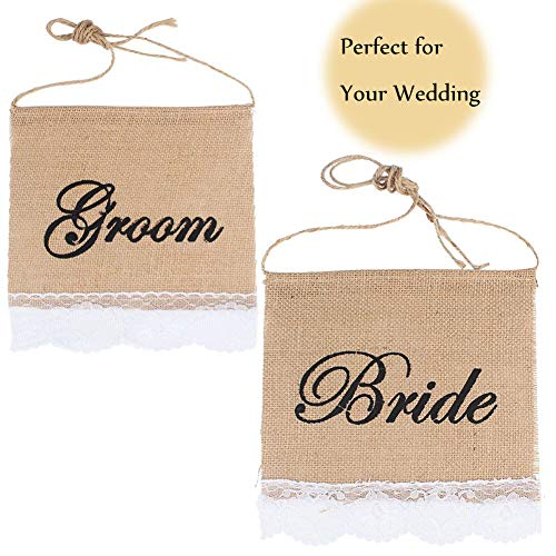 (Groom And Bride Chair Burlap Bunting Banner Chair Signs Garland for Vintage Rustic Wedding Decoration and Wedding Photo Props)