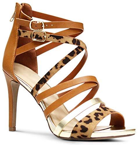 AFFORDABLE FOOTWEAR Women's Open Toe Low Platform High-Heeled Shoes Stiletto Dress Sandals - (Tan Multi) - 9