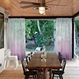 Macochico Outdoor Indoor Rod Pocket Violet Gradient Sheer Curtains for Patio Garden Backyard Gazebo Porch Ombre Voile Drapes Privacy Protection Home Decoration 52W x 84L (1 Panel)