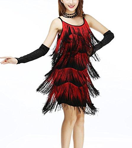 [Brazilian Brazil Paso Doble Dance Competition Costumes Dress Women Red/Black] (Paso Doble Costume)