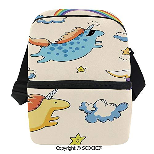 SCOCICI Collapsible Cooler Bag Pastel Colored Illustration of Several Flying Pony Baby Unicorns in The Air Artwork Insulated Soft Lunch Leakproof Cooler Bag for Camping,Picnic,BBQ